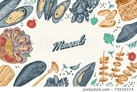 Sea mussels. Poster or banner in vintage retro style. Nautical molluscs. Ocean food background 73816374