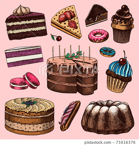 Cakes and cream tarts, fruit desserts and muffins. Chocolate Donuts, Sweet Food. Hand drawn pastries 73816376