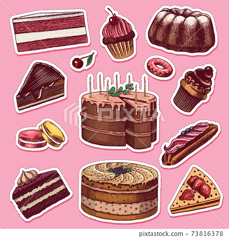 Cakes and cream tarts stickers. Fruit desserts and muffins label. Chocolate Donuts, Sweet Food. Hand 73816378