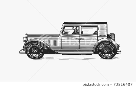 Vintage car for service signboard. Old transport. Retro old school auto. Classic american vehicle 73816407