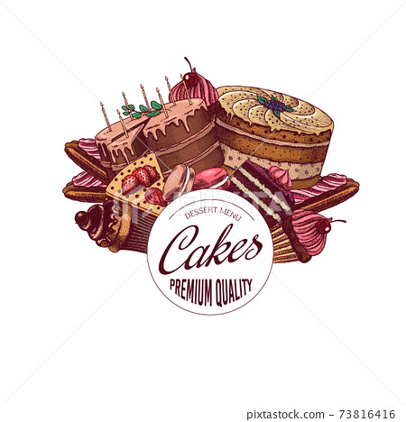 Cakes and cream tarts sticker. Fruit desserts and muffins label. Hand drawn emblem or badge. Vintage 73816416