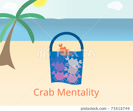 Crab mentality or crab theory in a bucket to pull other down with them vector 73818749