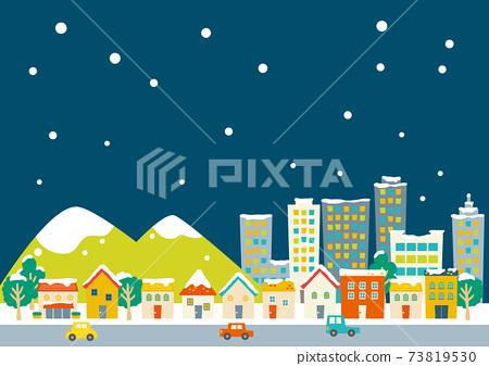 多彩的城市景觀下雪的夜晚西式房屋,山脈,建築物 73819530