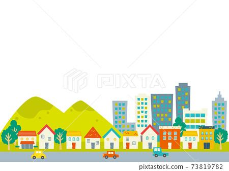 多彩的城市景觀西式房屋,山脈,建築物 73819782