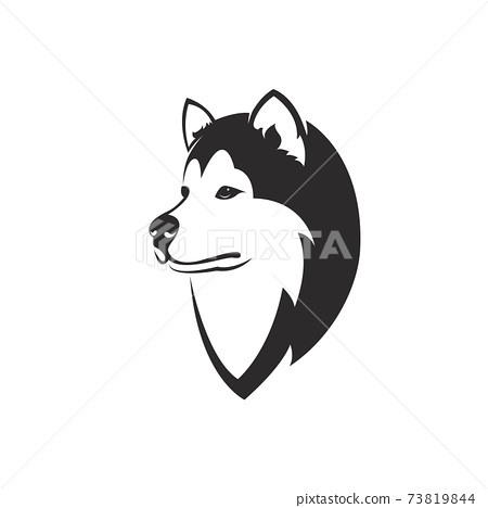 Vector of a dog head design( Siberian Husky) on white background. Easy editable layered vector illustration. Wild Animals. Pets. 73819844