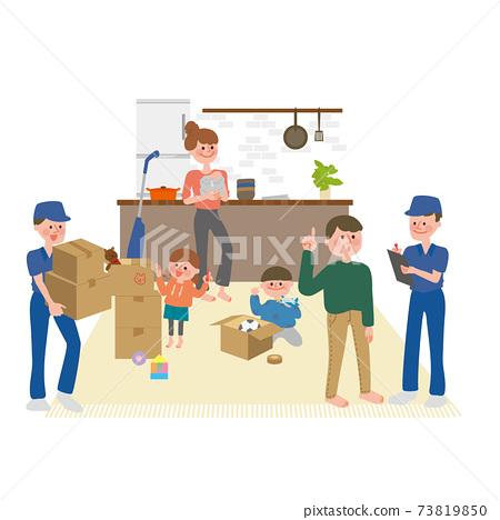 搬家風景(搬家公司和家庭) 73819850