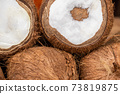 Coconuts heap close-up view 73819875