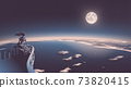 vector illustration of the ancient goddess relaxing on the balcony and she is looking down from heaven to the modern civilization with a beautiful full moon in the background 73820415