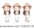 Set of cartoon Vietnamese girl in traditional costume. 73820718
