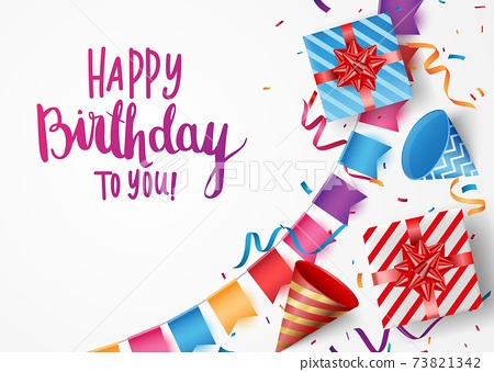 Birthday and celebration banner with colorful confetti and balloons 73821342