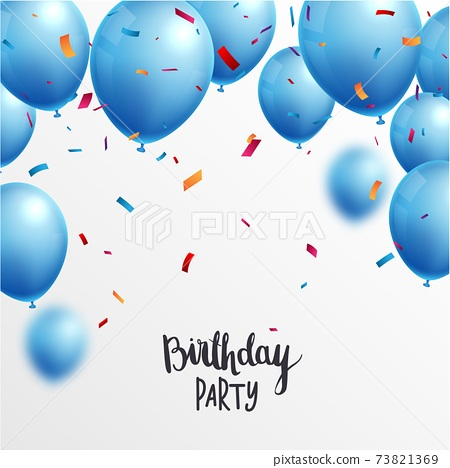 Birthday Celebrations banner with blue balloons and confetti	 73821369