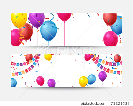 Birthday celebration banner with Colorful balloons and confetti 73821532
