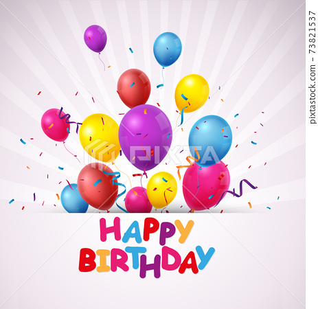 Birthday celebration banner with Colorful balloons and confetti 73821537