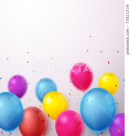 Birthday celebration banner with Colorful balloons and confetti 73821539