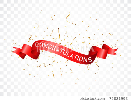 Congratulations sign letters banner with colorful confetti and balloons 73821998