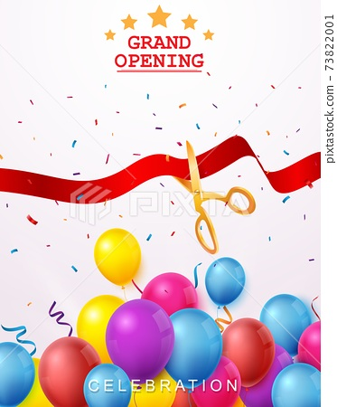 Grand opening ceremony with red, gold  balloon, and confetti 73822001