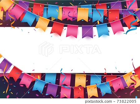 Colorful Birthday celebration banner with balloons and confetti 73822005
