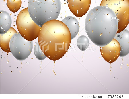 Celebration banner with gold confetti and balloons 73822024
