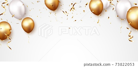 Celebration banner with gold confetti and balloons 73822053