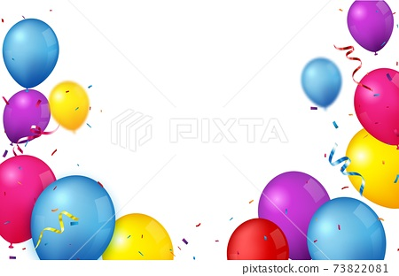 Colorful Birthday celebration banner with balloons and confetti 73822081