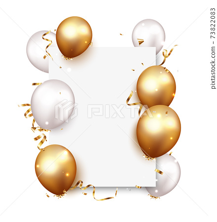 Celebration banner with gold confetti and balloons 73822083