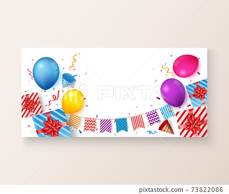 Colorful Birthday celebration banner with balloons and confetti 73822086