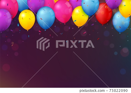 Colorful Birthday celebration banner with balloons and confetti 73822090