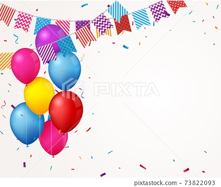 Colorful Birthday celebration banner with balloons and confetti 73822093