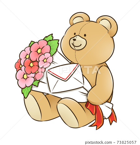 Stuffed bear with a bouquet 73825057