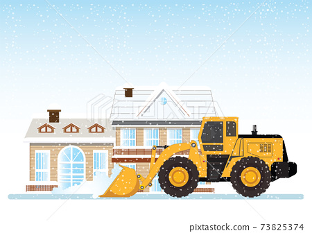 Cleaning snow on the streets with Snow plow truck cleaning snow removal. 73825374
