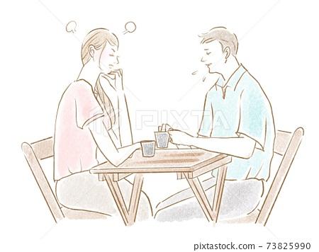 男人為讓女人生氣而道歉的插圖素材 73825990