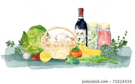 葡萄酒,蔬菜和成分的水彩畫 73828438