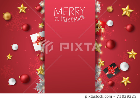 Merry christmas and happy new year banner with red and gold balls and confetti	 73829225