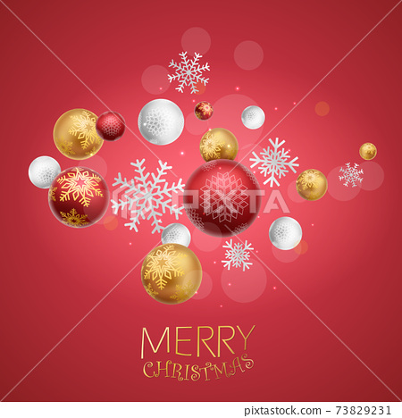 Merry christmas and happy new year banner with red and gold balls and confetti 73829231