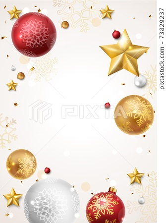 Merry christmas and happy new year banner with red and gold balls and confetti	 73829237