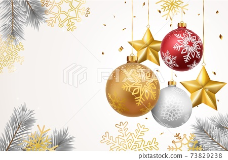 Merry christmas and happy new year banner with red and gold balls and confetti 73829238