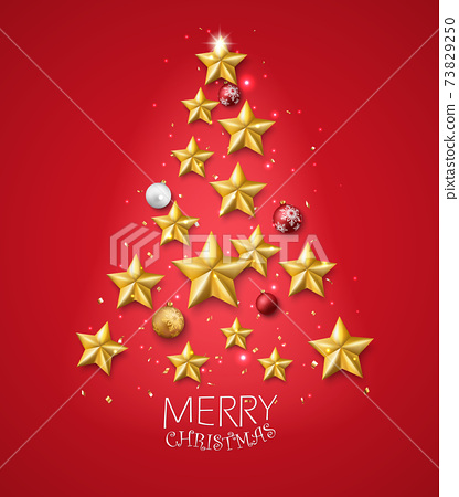Merry christmas and happy new year banner with red and gold balls and confetti	 73829250