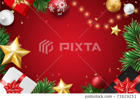 Merry christmas and happy new year banner with red and gold balls and confetti	 73829251
