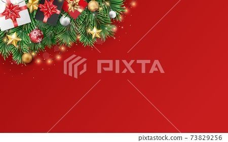 Merry christmas and happy new year banner with red and gold balls and confetti 73829256