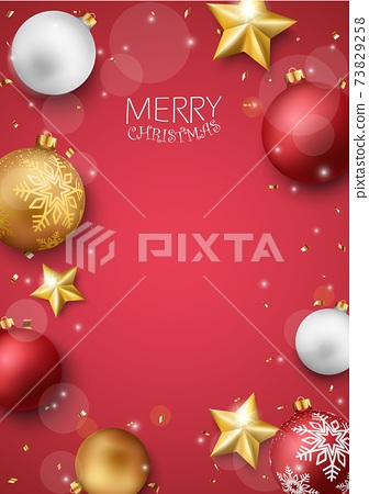 Merry christmas and happy new year banner with red and gold balls and confetti 73829258