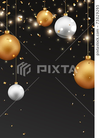 Merry christmas and happy new year banner with red and gold balls and confetti 73829265