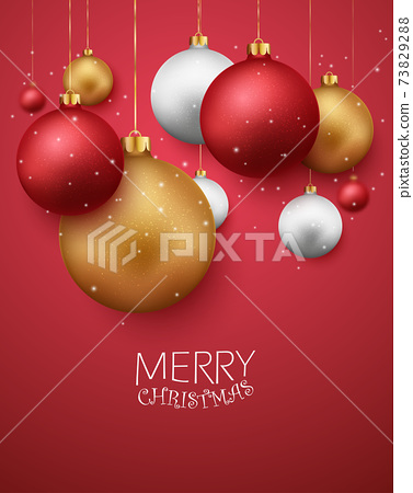 Merry christmas and happy new year banner with red and gold balls and confetti	 73829288