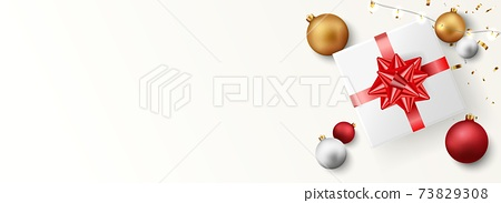 Merry christmas and happy new year banner with red and gold balls and confetti 73829308