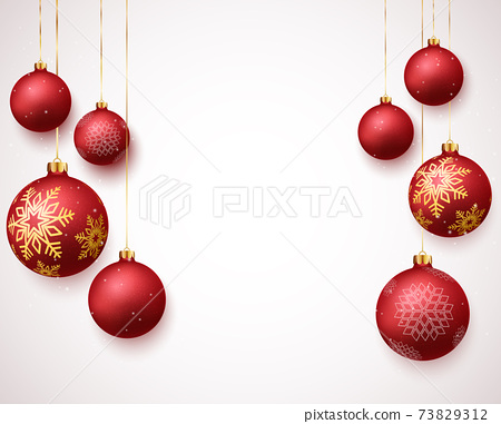 Merry christmas and happy new year banner with red and gold balls and confetti 73829312