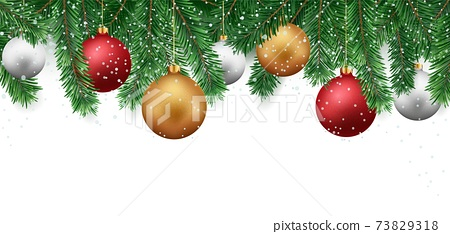 Merry christmas and happy new year banner with red and gold balls and confetti 73829318