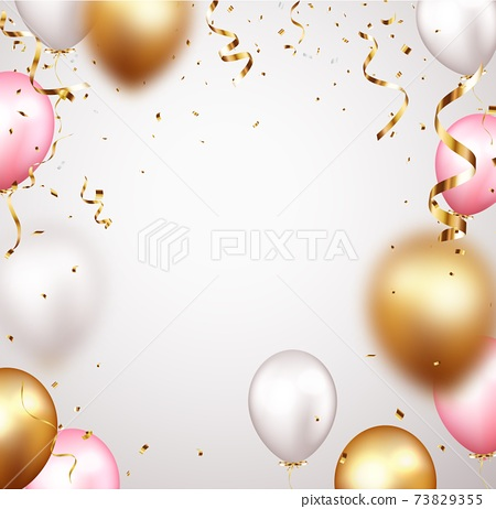Celebration banner with gold confetti and balloons 73829355