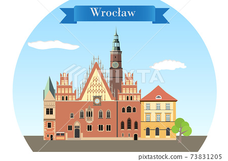 Gothic facade of historic Town Hall of Wroclaw 73831205