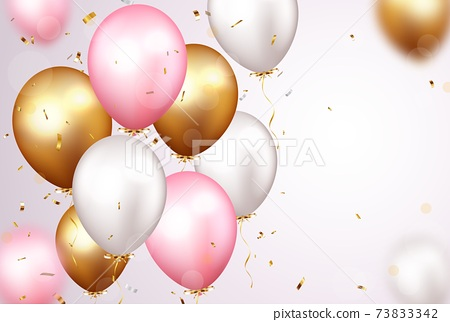 Celebration banner with gold confetti and balloons 73833342
