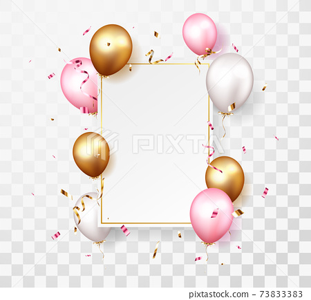 Celebration banner with gold confetti and balloons 73833383