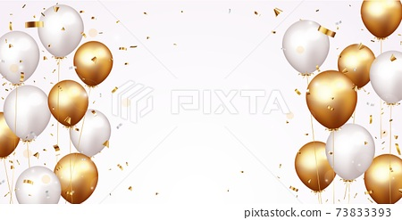 Celebration banner with gold confetti and balloons 73833393